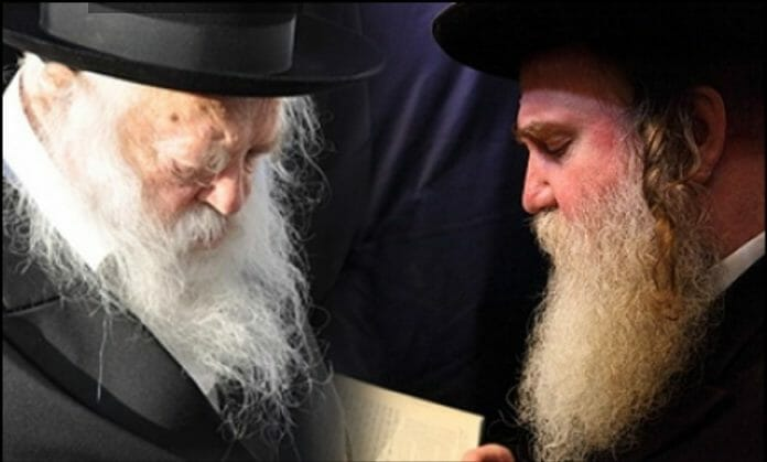 Rav Karp, shlita, with the Gaon and Tzaddik Rav Chaim Kanievksy, shlita