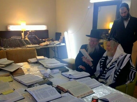 Rabbi Yaakov Litzman visits Rav Eliezer Berland in the Hadassah hospital hotel