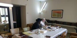 Rav Berland in the Hadassah Hospital Hotel before Seder night 5777