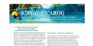Rav Ofer Erez's Iyar newsletter