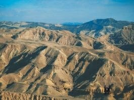 Aerial shot overlooking the brown mountains ofEilat