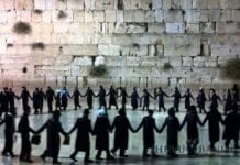 Prayer gathering at the Kotel