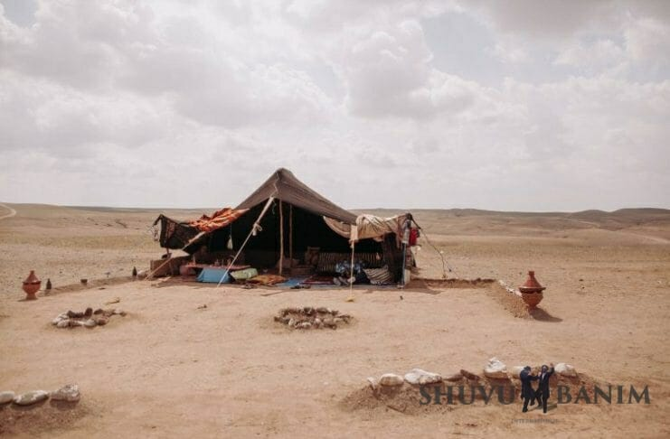 An old-fashioned bedouin tent pitched in the desert