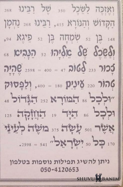 Second side of Hebrew text of prayer to be like the Matriarchs