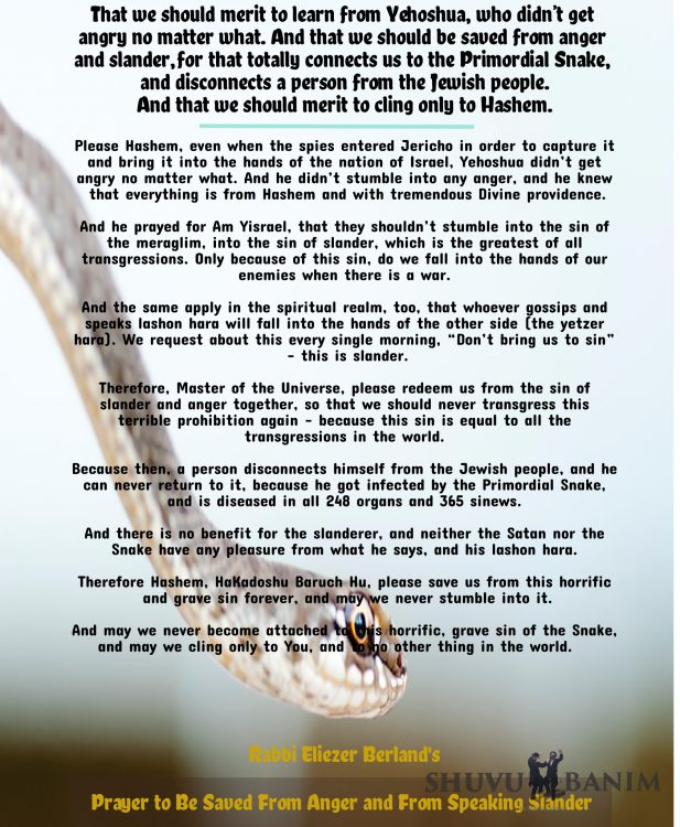 Text of the prayer against a picture of a snake