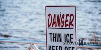 Sign next to a lake saying Danger