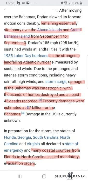 Hurricane Dorian stops before reaching Florida